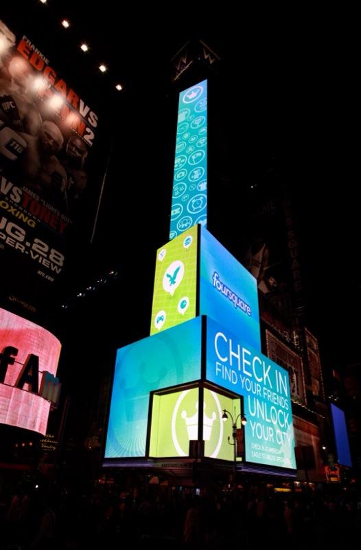Affichage alternatif à Times Square pour Foursquare