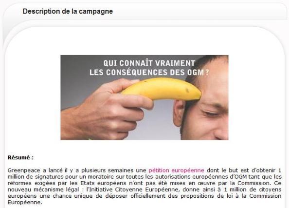 Financement campagne Presse contre les OGM
