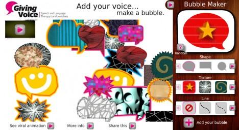 Giving Voice : Dispositif interactif pour ajouter votre propre bulle / voix