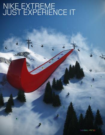 Rampe de saut à ski en forme de Swoosh de Nike