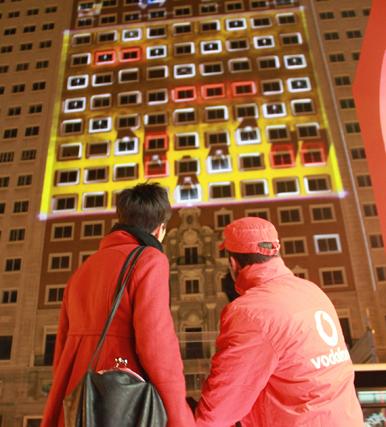 Vodafone/Samsung: mapping interactif sur le Plaza de Espana
