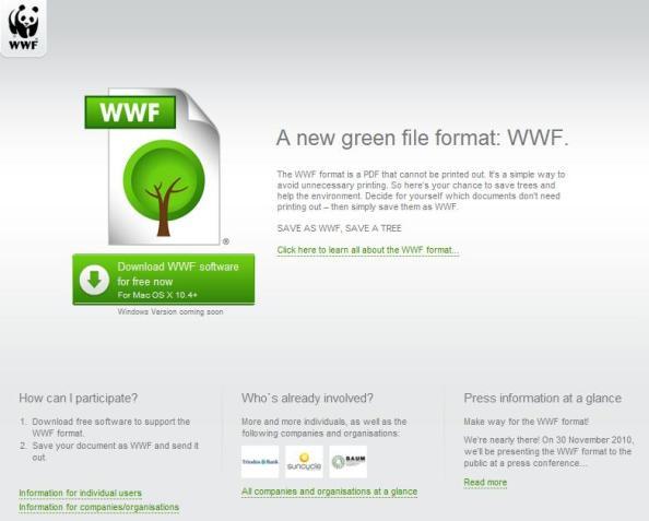 WWF : un format d'archive écolo